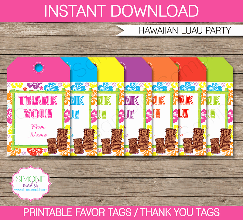 Party Favor Tags Template New Luau Party Favor Tags Thank You Tags