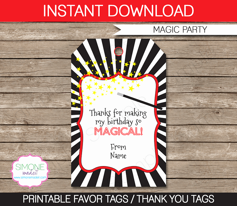 Party Favor Tags Template New Magic Party Favor Tags Thank You Tags