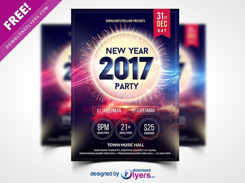 Party Flyer Template Free Awesome New Year 2017 Party Flyer Template Free Psd by Flyer Psd