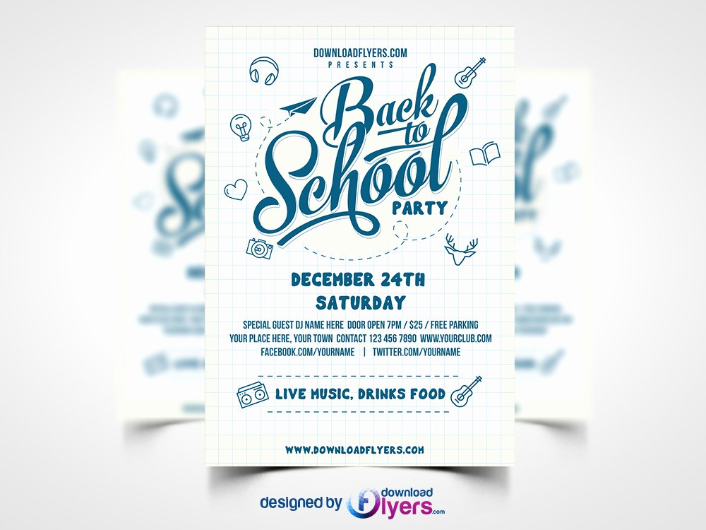 Party Flyer Template Free Lovely Back to School Party Flyer Template Free Psd Download Psd