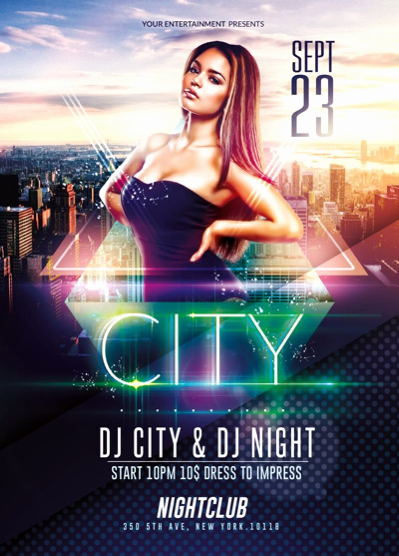 Party Flyer Template Free New Elegant City event