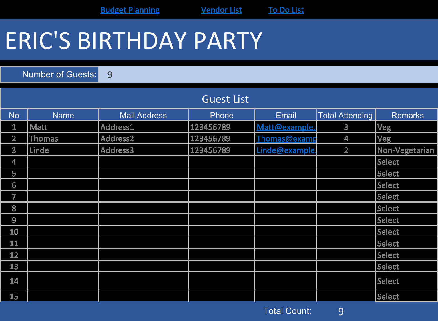 Party Guest List Template Awesome Birthday Party Planner Template – Day2s