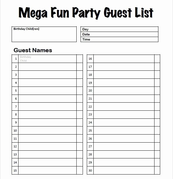 Party Guest List Template Awesome Party Guest List Template – Hatch Urbanskript