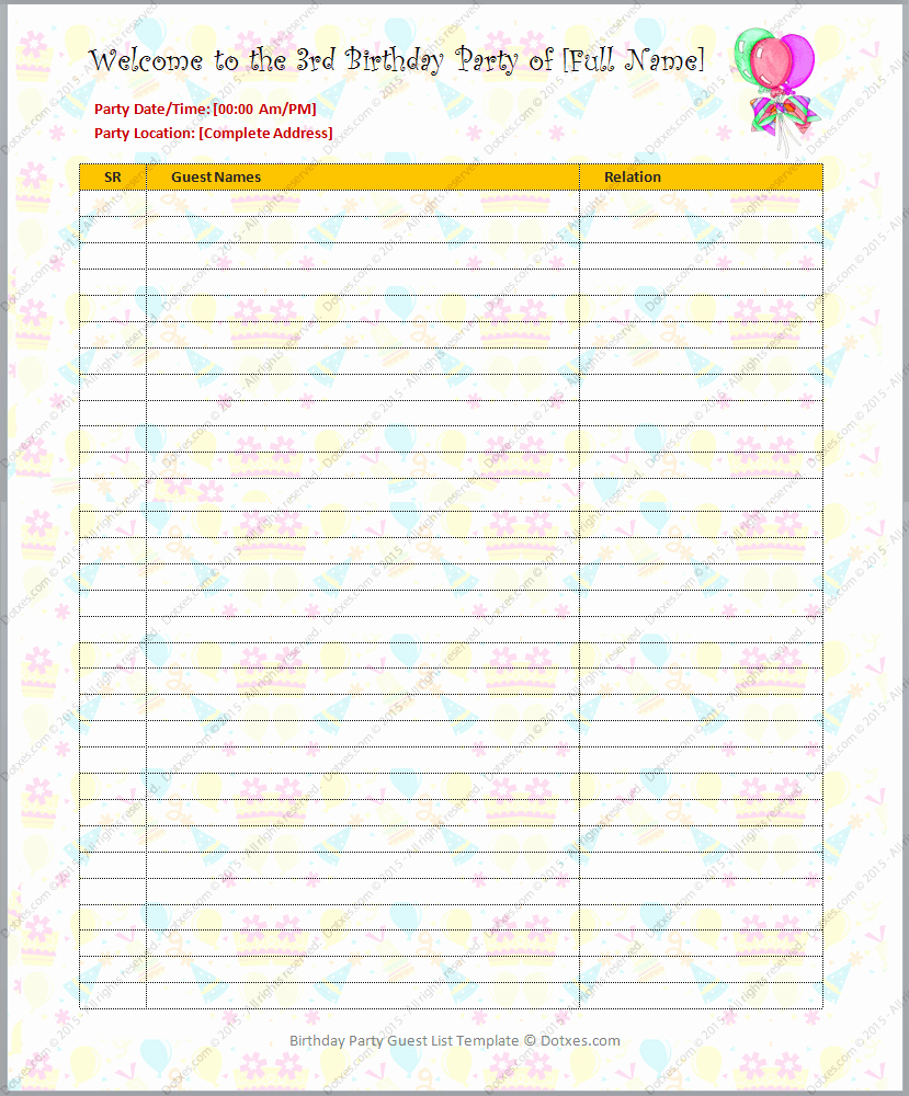 Party Guest List Template Best Of Birthday Party Guest List Template Dotxes