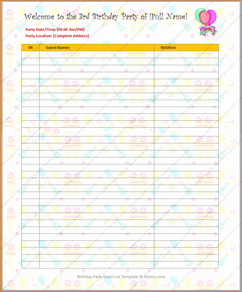 Party Guest List Template Elegant 5 Birthday List Template