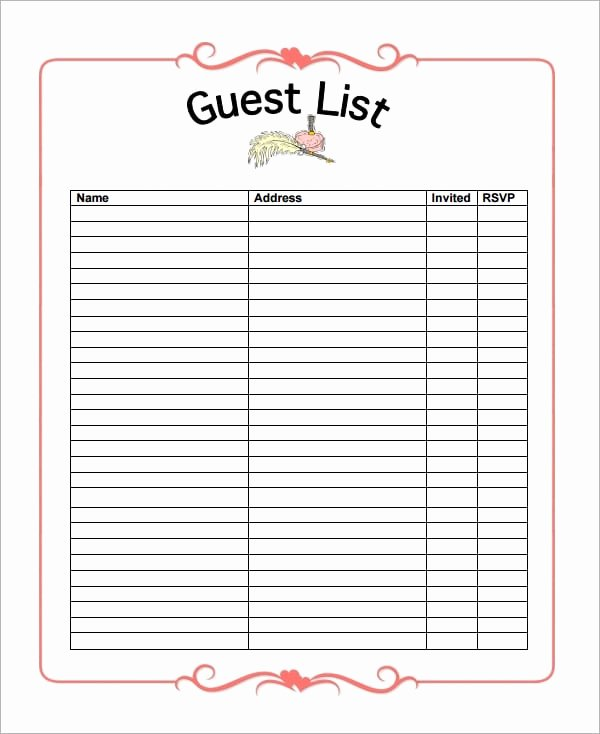 Party Guest List Template Fresh 10 Party Guest List Templates Word Excel Pdf formats