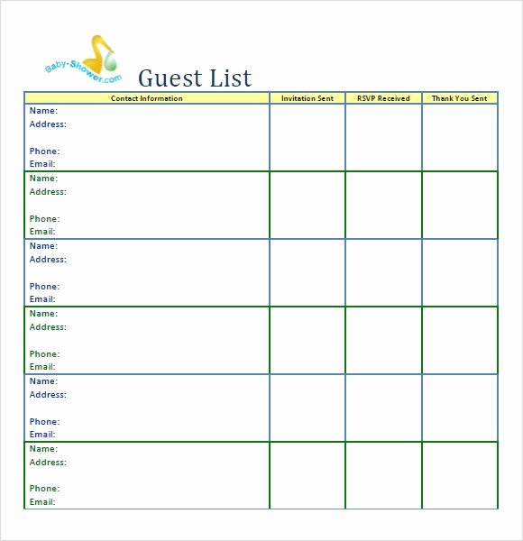 Party Guest List Template Fresh Party Guest List Templates Word Excel Pdf formats