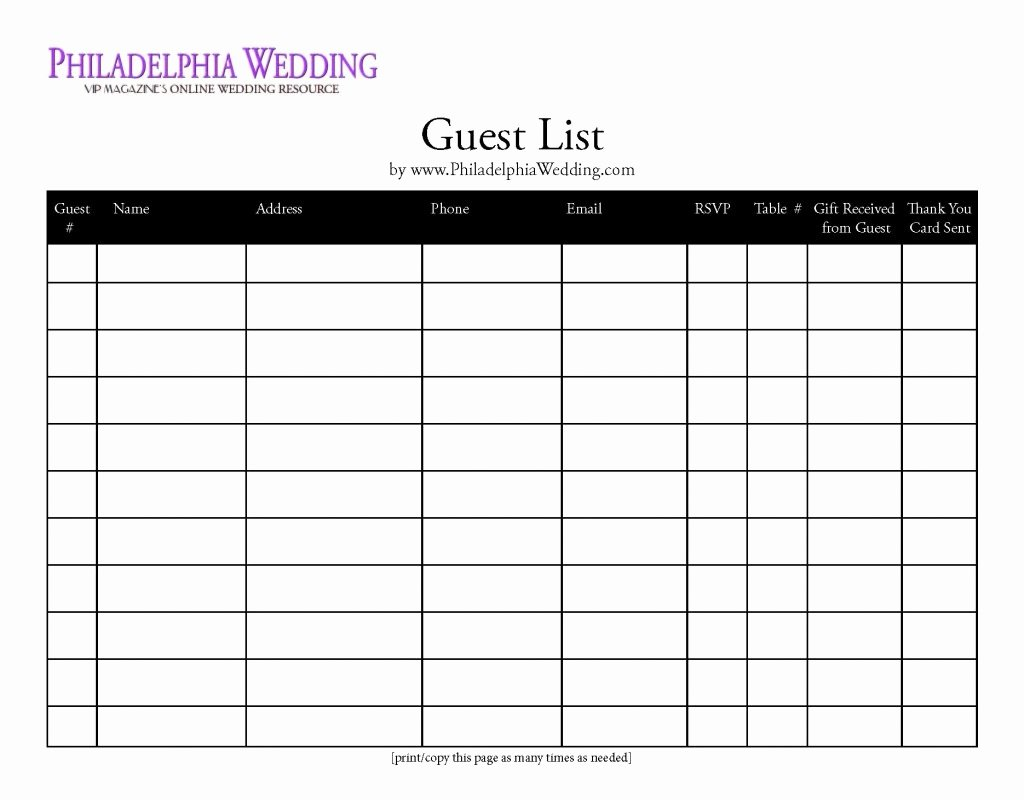 Party Guest List Template Lovely Bridal Party List Template Mughals