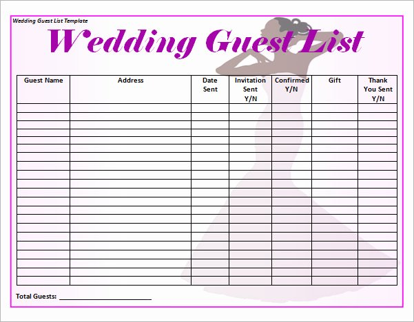 Party Guest List Template Luxury 17 Wedding Guest List Templates – Pdf Word Excel