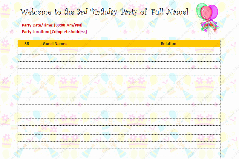 Party Guest List Template Luxury Birthday Party Guest List Template Dotxes