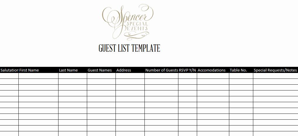 Party Guest List Template New 7 Guest List Templates Excel Pdf formats