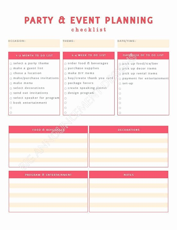 Party Plan Checklist Template Beautiful event Planning 101 – Ida Skinner