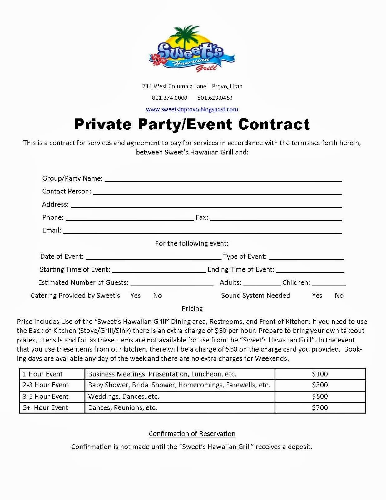 Party Planner Contract Template Fresh event Room Rental Agreement Special event Space Rental
