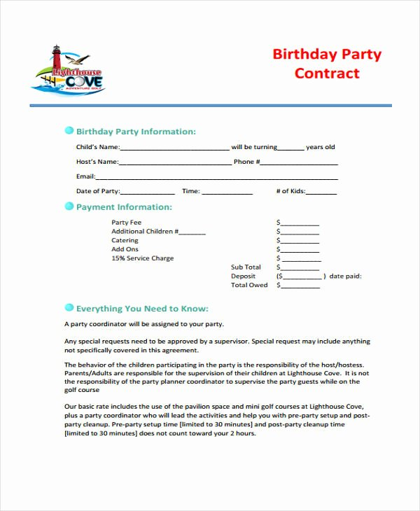Party Planner Contract Template Luxury 5 Planner Contract Templates Sample Word Google Docs