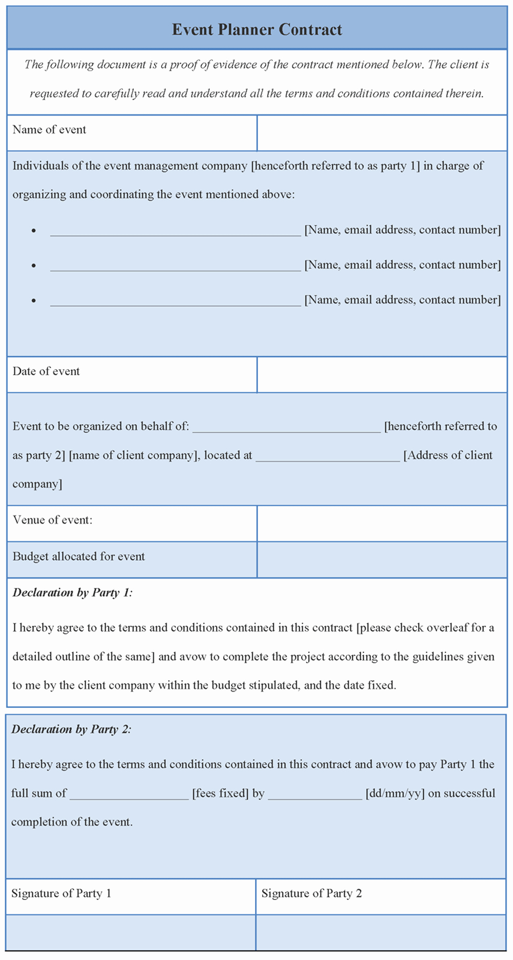 Party Planner Contract Template Luxury Contract Template for event Planner format Of event
