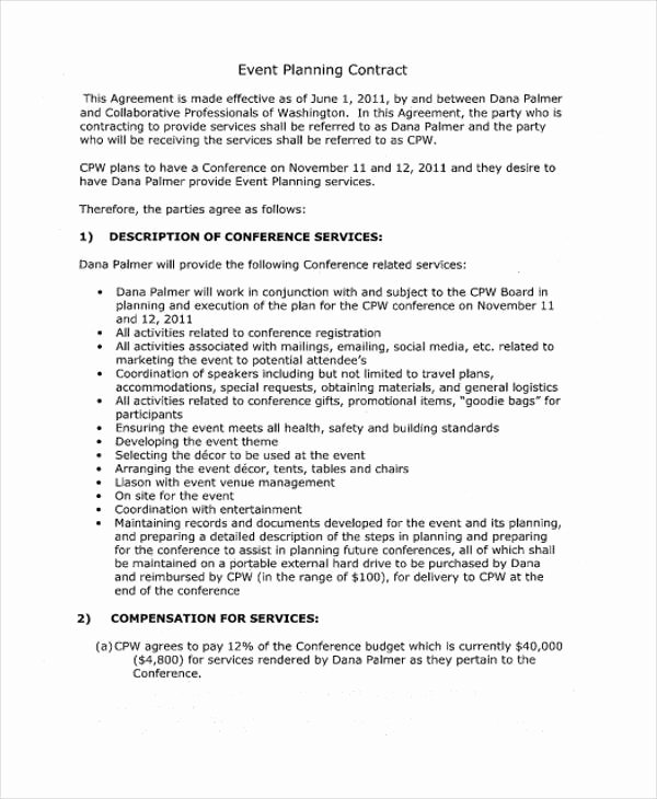 Party Planner Contract Template New Planner Contract Templates 6 Free Pdf format Download