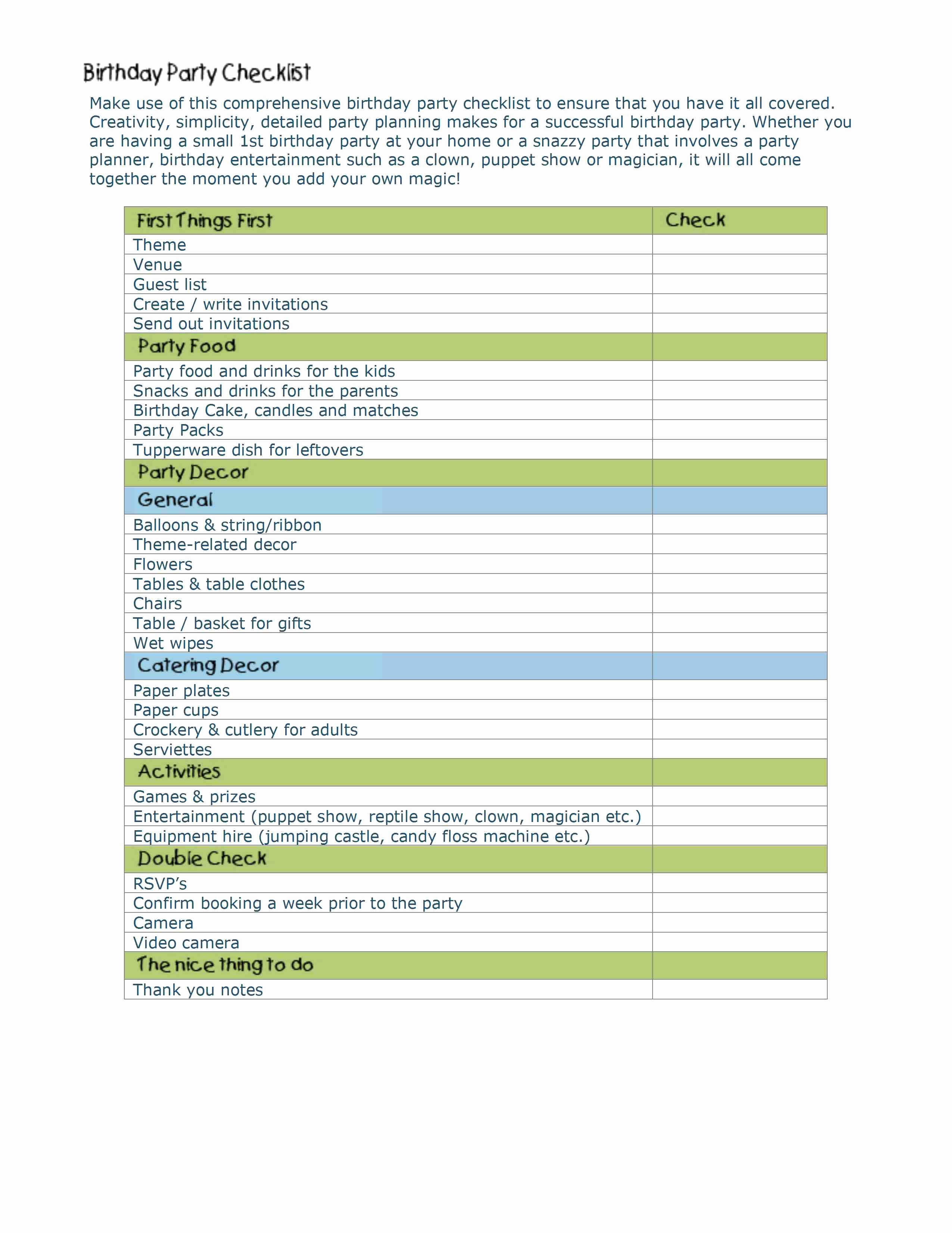 Party Planning Checklist Template Luxury event Planning Checklist Template
