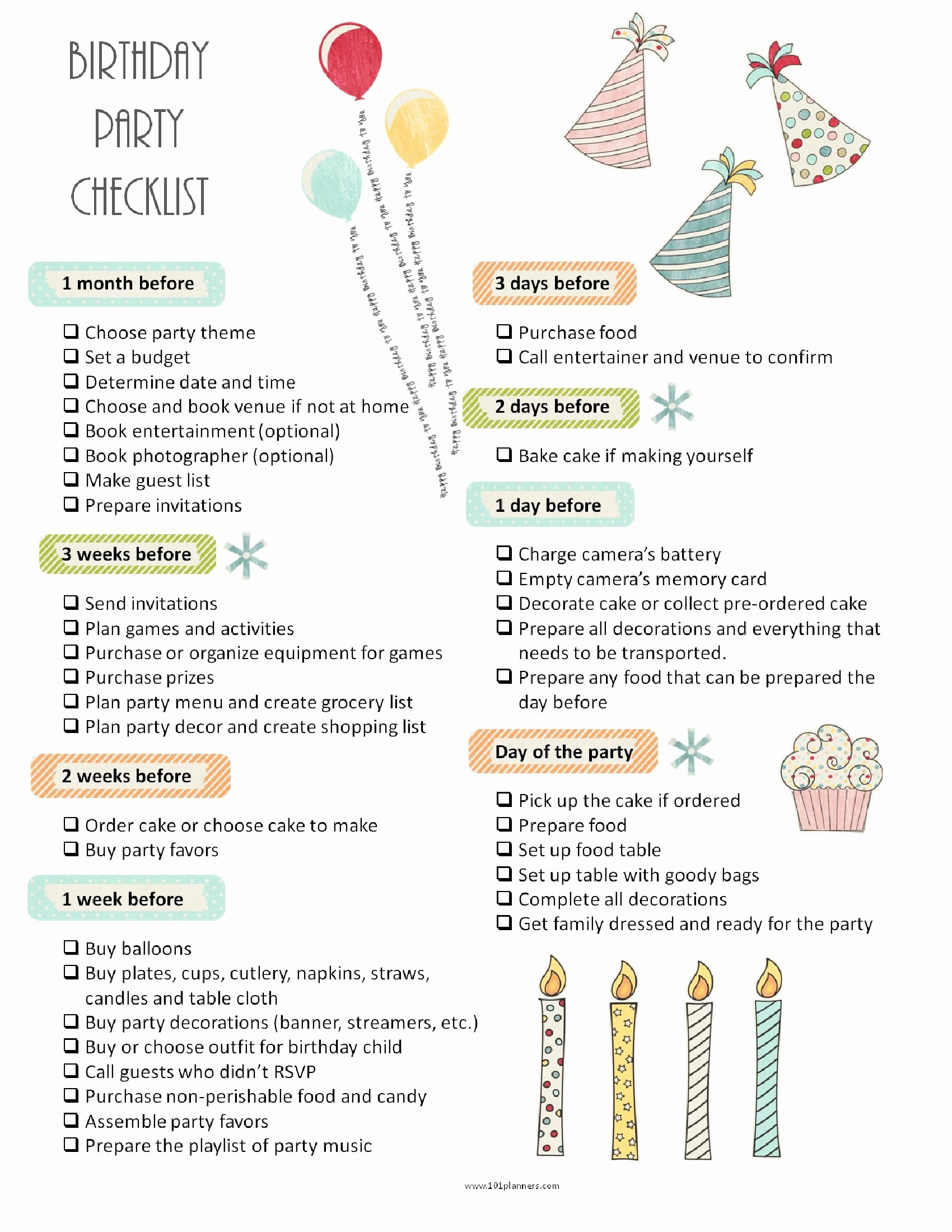 Party Planning Checklist Template New 26 Life Easing Birthday Party Checklists