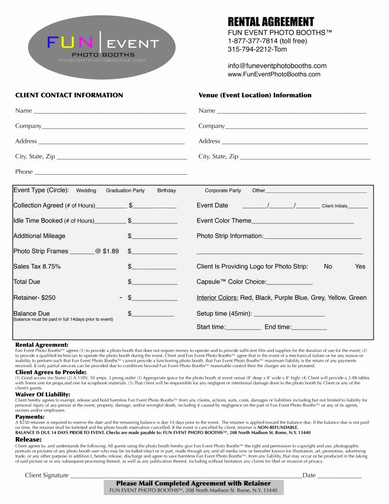 Party Rental Contract Template Best Of event Rental Agreement Free Printable Documents