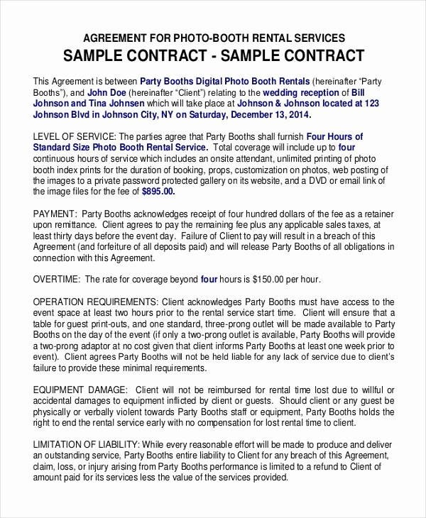 Party Rental Contract Template Elegant 18 Booth Rental Agreement Templates Free Downloadable