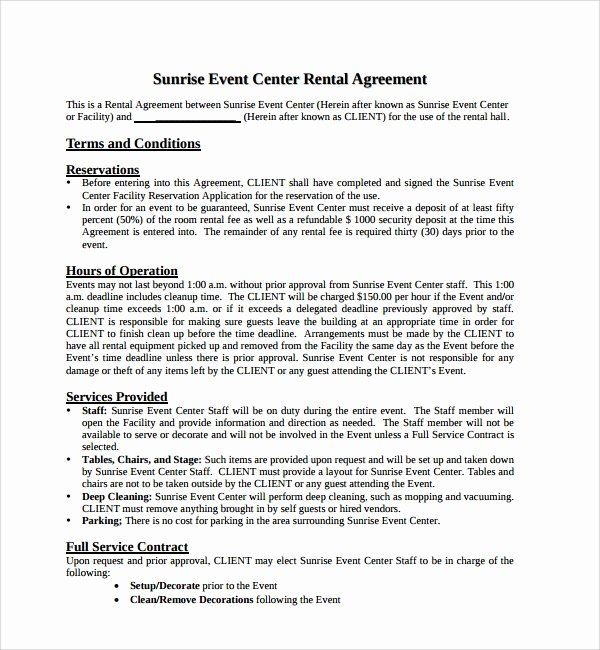 Party Rental Contract Template Lovely 10 Simple Rental Agreement Templates Download for Free