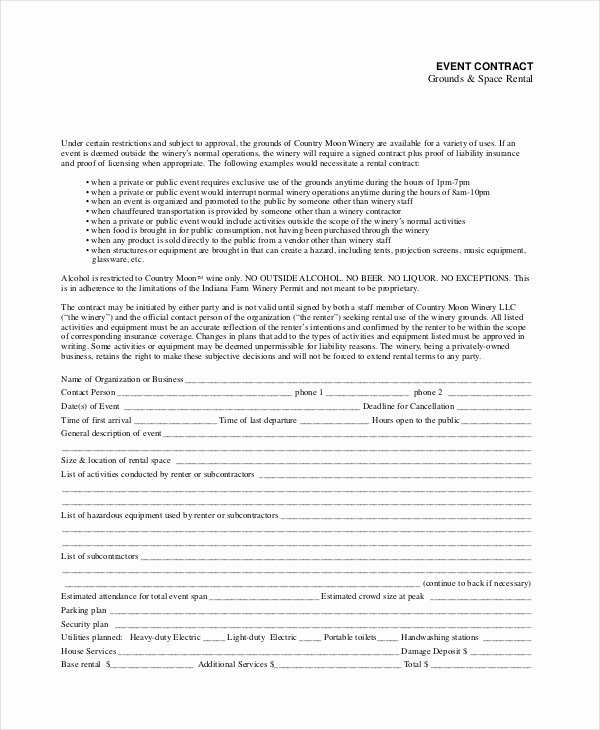 Party Rental Contract Template Luxury 11 Rental Contract Templates Word Pages Docs