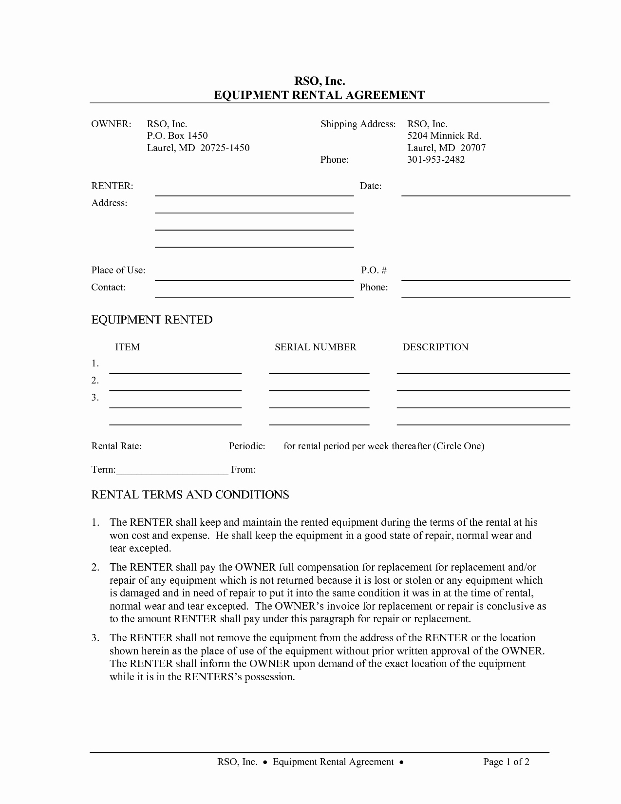 Party Rental Contract Template New 10 Best Of Equipment Rental Agreement Template Free