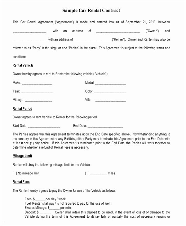Party Rental Contract Template New 17 Car Rental Agreement Templates Free Word Pdf format