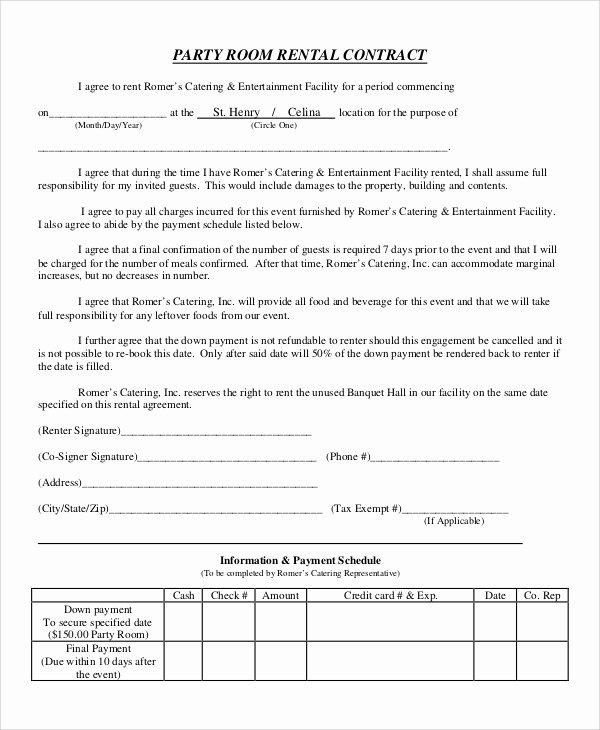 sample room rental agreements