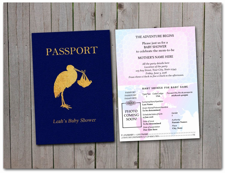 Passport Invitation Template Free Inspirational Printable Baby Shower Passport 5x7 Instant
