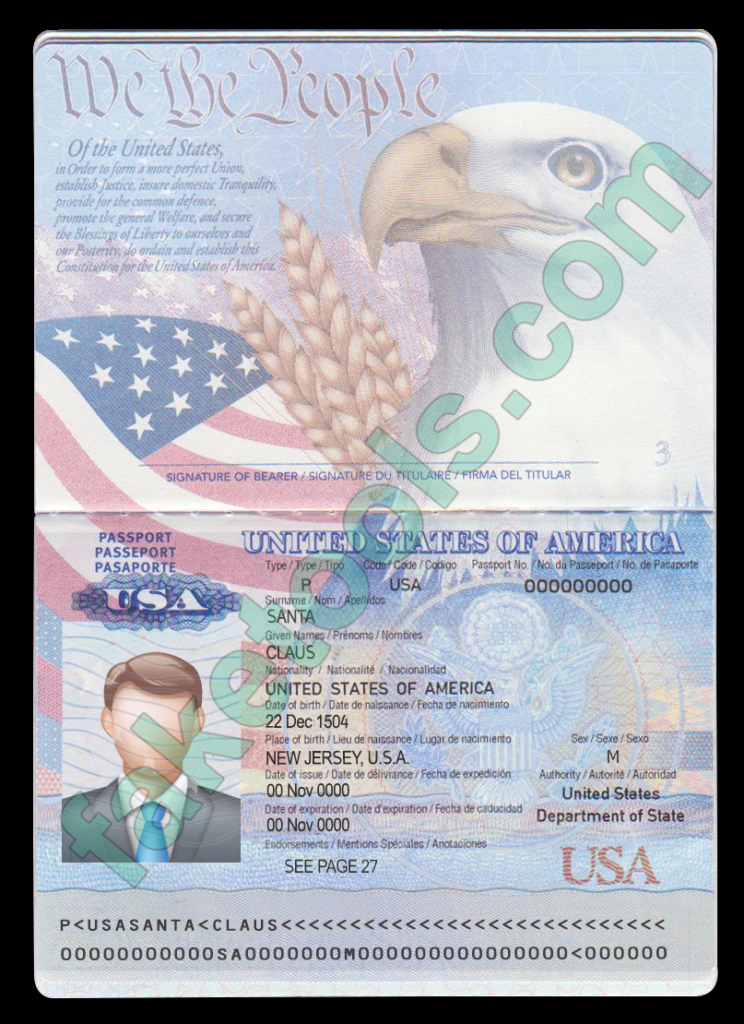 usa passport psd template