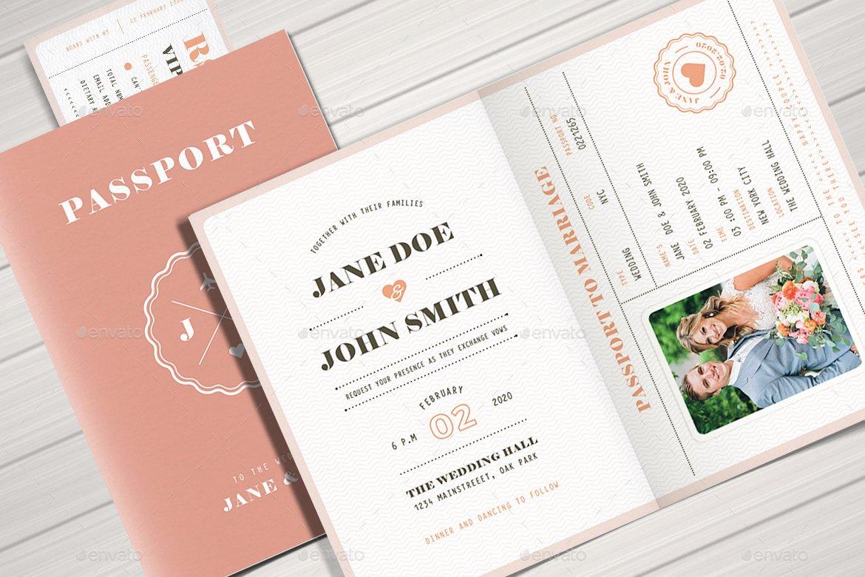 Passport Wedding Invitation Template Fresh Pastel Passport Wedding Invitation by Vector Vactory