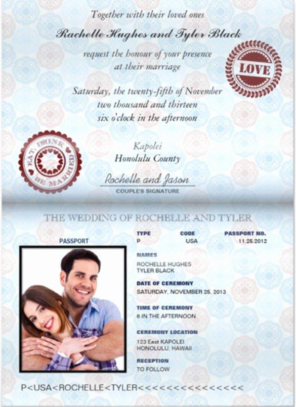 Passport Wedding Invitation Template Lovely 16 Passport Invitation Templates Free Sample Example