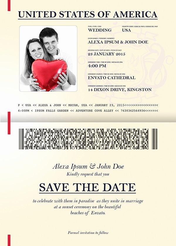 Passport Wedding Invitation Template Lovely Passport Wedding Invitation & Save the Date On Behance