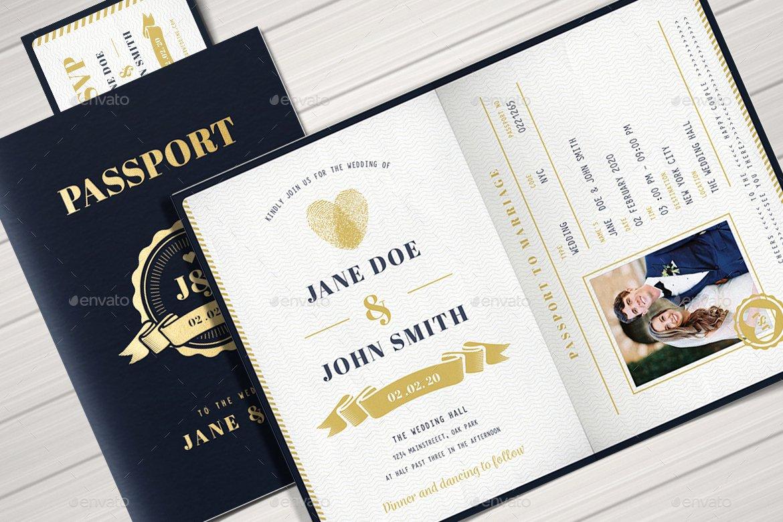 Passport Wedding Invitation Template Luxury Passport Wedding Invitation by Vector Vactory