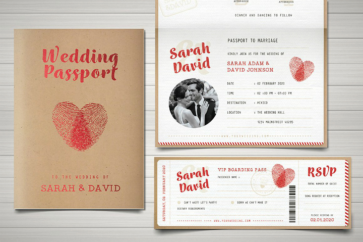 Passport Wedding Invitation Template New 29 Vintage Wedding Templates Editable Psd Ai format