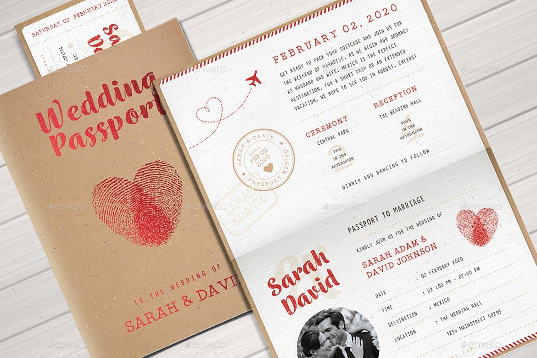 Passport Wedding Invitation Template New Vintage Passport Wedding Invitation by Vector Vactory