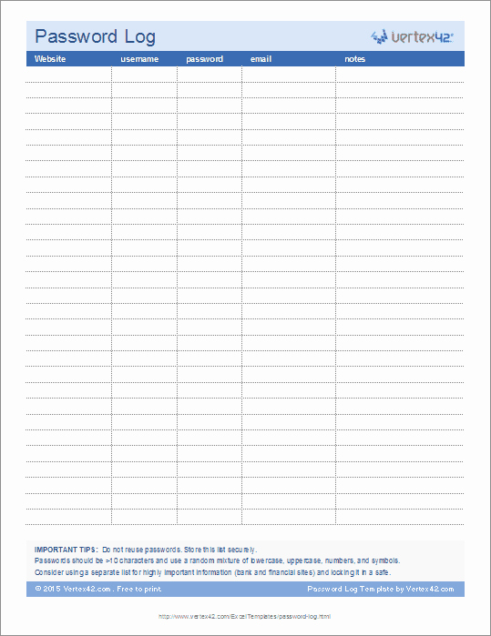 Password Log Template Pdf Awesome Password Log Template