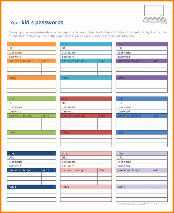 Password Log Template Pdf Best Of Password Template