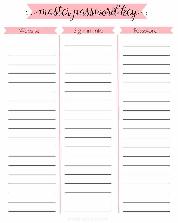 Password Log Template Pdf Inspirational Password Printable Free Printable and Printables On Pinterest