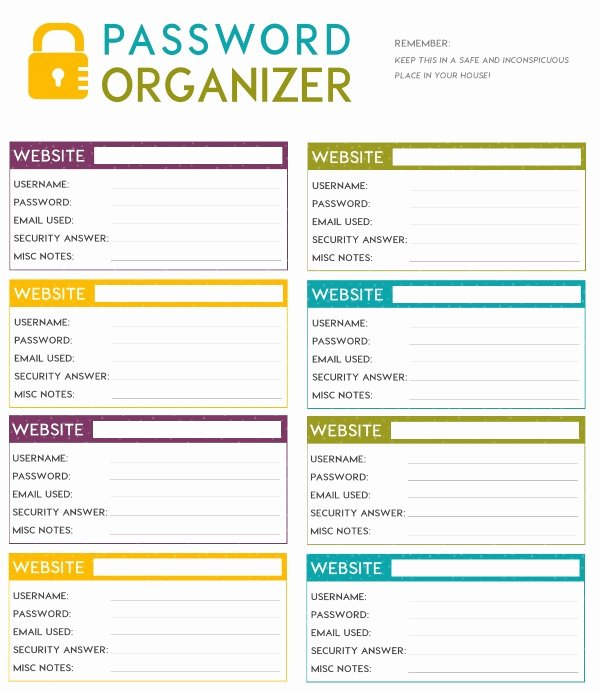 Password Manager Excel Template Beautiful Free Printable organizer Templates Printable Pages
