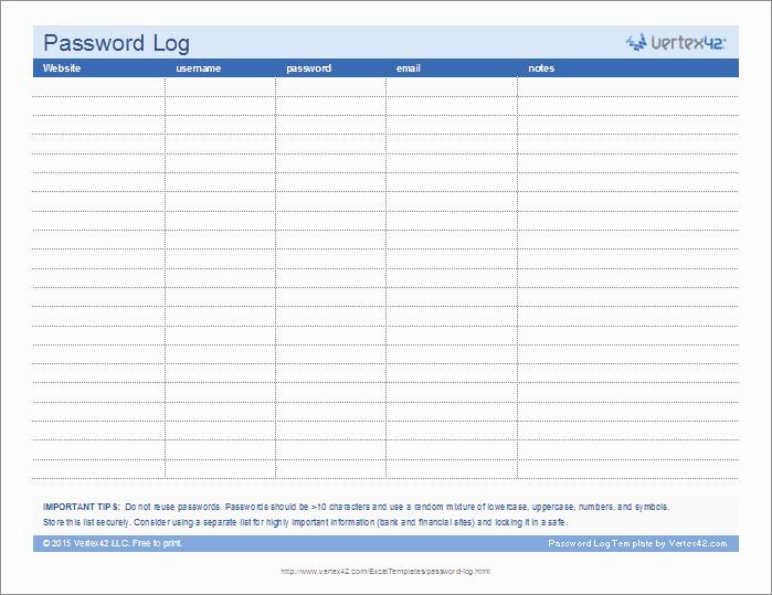 Password Manager Excel Template Elegant Password Log Template