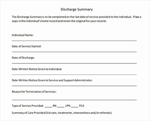 Patient Discharge form Template Elegant 14 Discharge Summary Samples