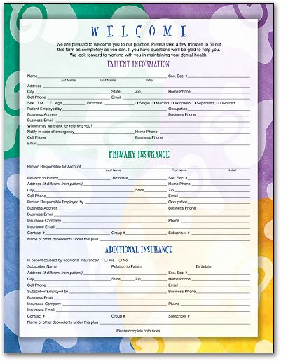 Patient Information form Template Beautiful Wel E and History forms for New Dental Patients