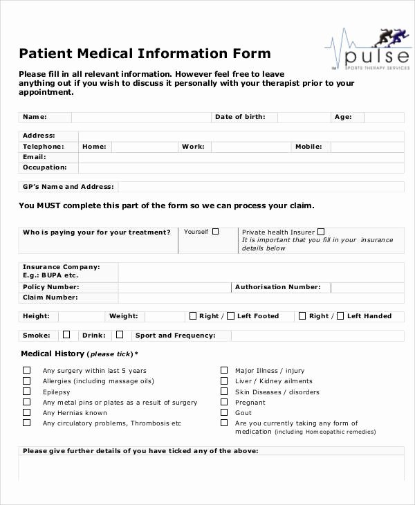 Patient Information form Template Inspirational 50 Sample Medical forms