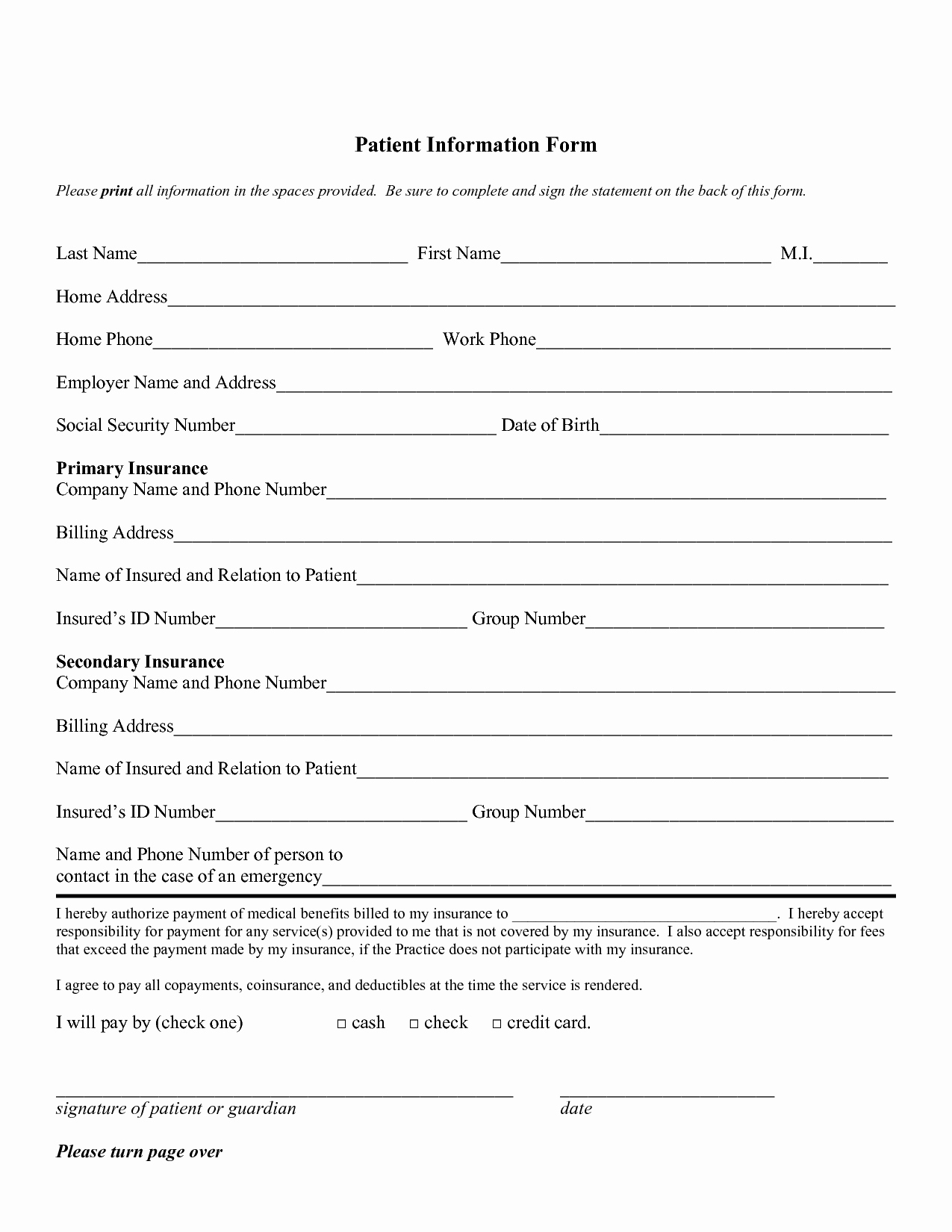 Patient Information form Template Unique Patient Information Sheet