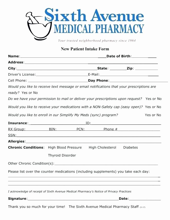 Patient Intake form Template Awesome New Patient Intake form Template