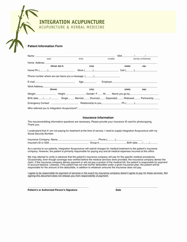 Patient Intake form Template Unique Acupuncture forms Reverse Search