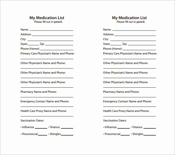 Patient Medication List Template Beautiful 8 Medication Card Templates Doc Pdf