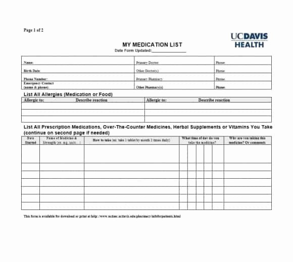 Patient Medication List Template Luxury 58 Medication List Templates for Any Patient [word Excel